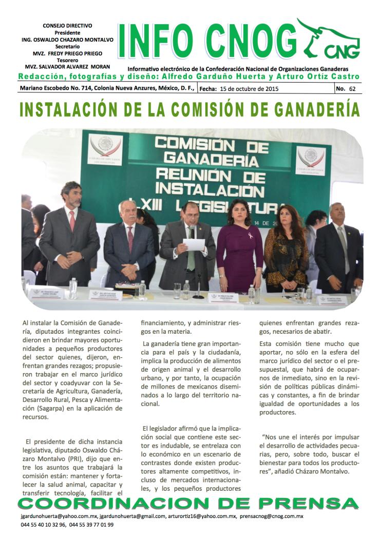 62 Instalación de la Comisión de Ganadería