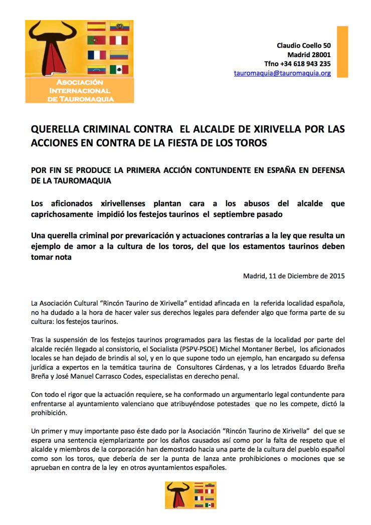 Alcalde de Xirivella a los tribunales