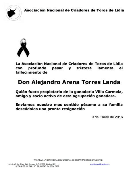 DON ALEJANDRO ARENA TORRES LANDA