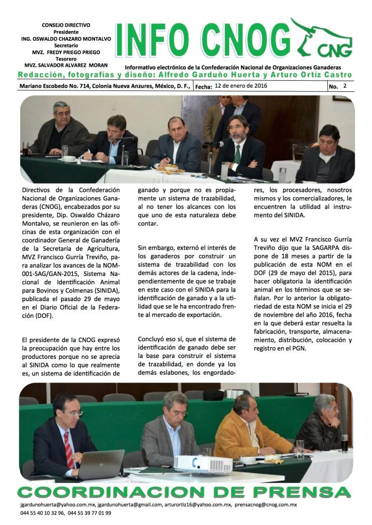 INFO CNOG 2 ANALIZAN CNOG Y SAGARPA AVANCES DE LA PUBLICACION DE LA NOM 001SAGGAN-2015[4] a