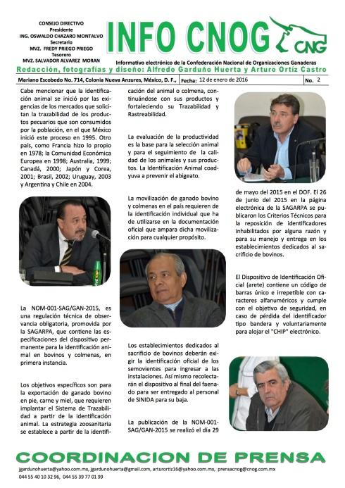 INFO CNOG 2 ANALIZAN CNOG Y SAGARPA AVANCES DE LA PUBLICACION DE LA NOM 001SAGGAN-2015[4] b