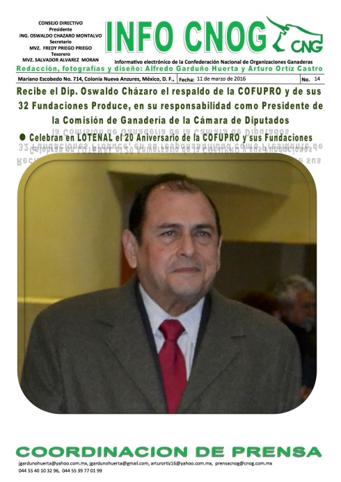 INFO CNOG 14 Aniversario de COFUPRO a