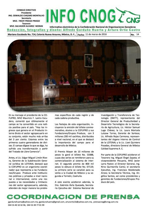 INFO CNOG 14 Aniversario de COFUPRO c