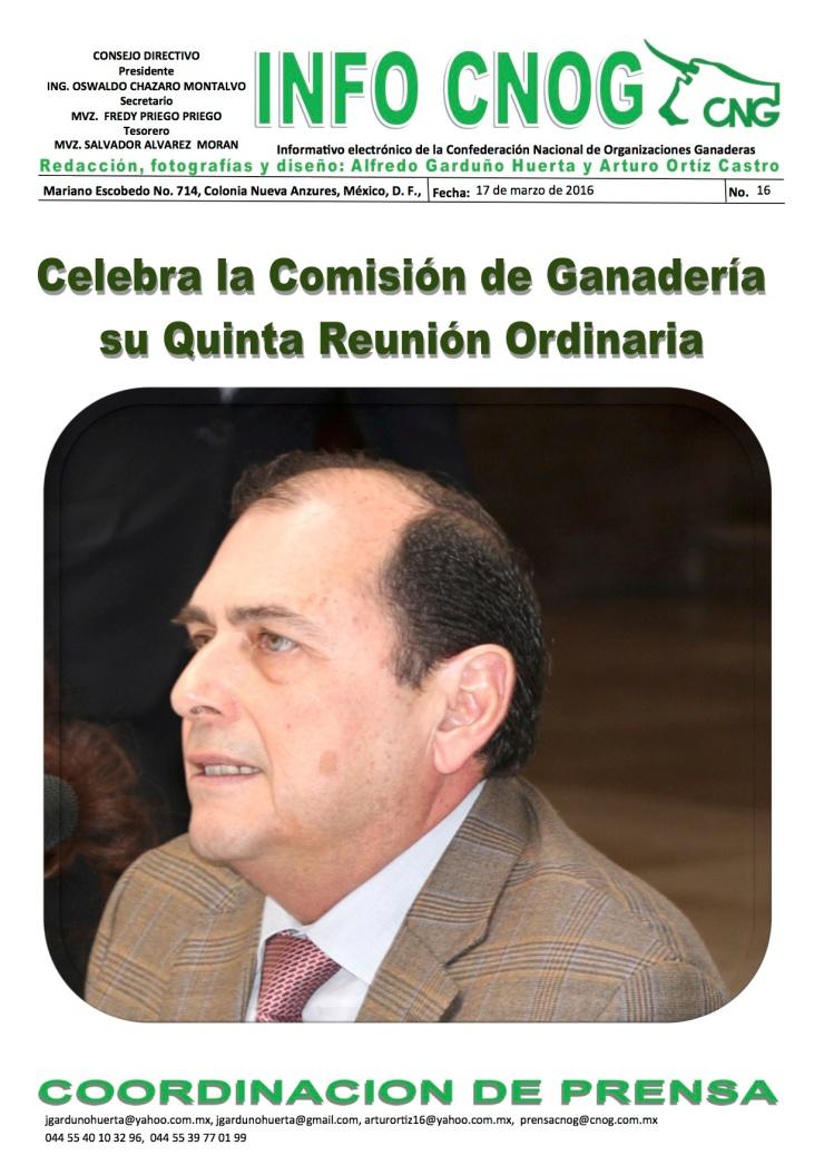 INFO CNOG 16 quinta Reunión Ordinaria Comisión de Ganadería a