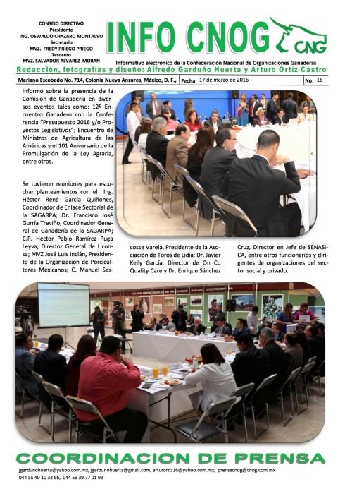 INFO CNOG 16 quinta Reunión Ordinaria Comisión de Ganadería c