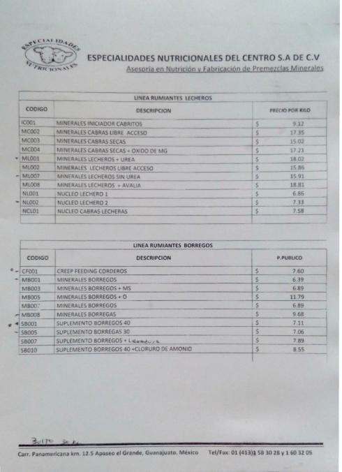 LISTAS DE PRECIOS b