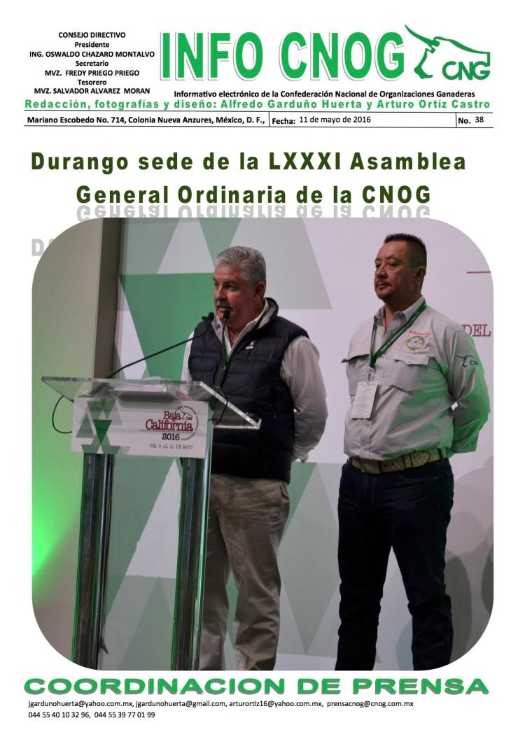 INFO CNOG 38 Sede Durango a